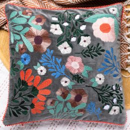 Ian Snow Grey Floral Embroidered Cotton Cushion Cover