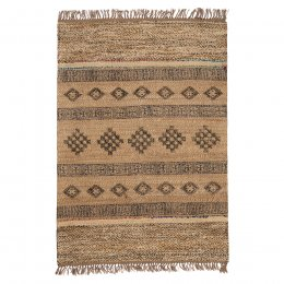 Blockprint Jute Rug with Wool and Recycled Sari - 120 x 180cm