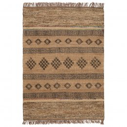 Blockprint Jute Rug with Wool and Recycled Sari - 150 x 240cm