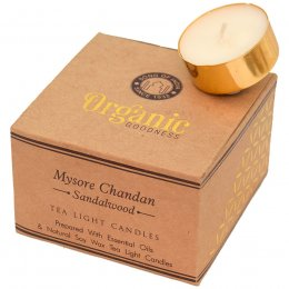 Fair Trade Mysore Chandan Sandalwood Scented Tea Light Candles - Pack of 12