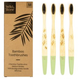Wild & Stone Adult Bamboo Toothbrush - Medium - Pack of 4