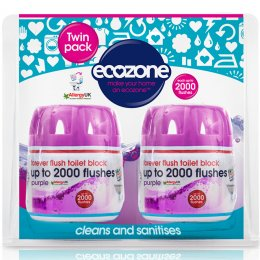 Ecozone Forever Flush Toilet Block - Purple Twin pack