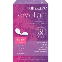 Natracare Organic Cotton Dry & Light Incontinence Pads - Pack of 20