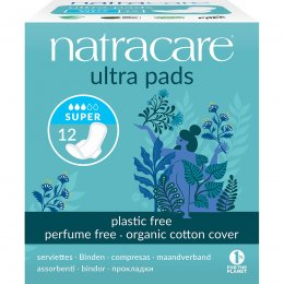 Natracare Organic Cotton Ultra Pads - Super with Wings - Pack of 12