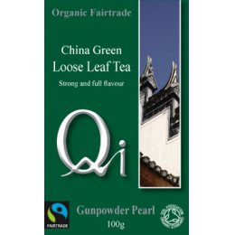 QI Organic Fairtrade Gunpowder Pearl Tea - Loose Leaf - 100g