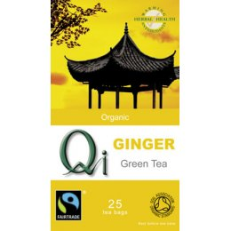 QI Organic Fairtrade Green Tea with Ginger - 25 Bags