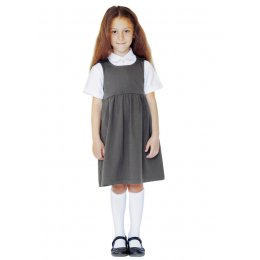 Jersey Pinafore with Coconut Shell Buttons - Grey - 3yrs Plus
