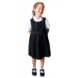 Black Pinafore with Coconut Shell Button - 8yrs Plus