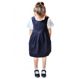 Navy Pinafore with Coconut Shell Button - 8yrs Plus
