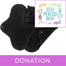 Eco Period Box Donation ImseVimse Black Reusable Sanitary Pads - Regular - Pack of 3