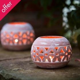 Traidcraft Terracotta Lanterns - Set of 2
