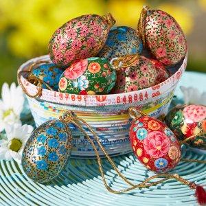 Traidcraft Paper Mache Egg Decorations - Set of 4