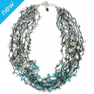 Multi Strand Blue Bead Necklace