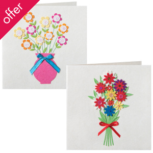 Traidcraft Sequin Flower Cards - Pack of 2