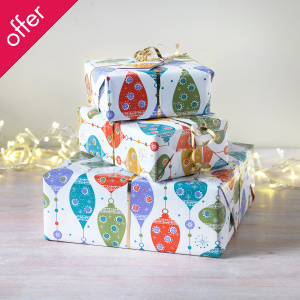 Festive Bauble Gift Wrap & Tags - Pack of 4