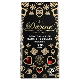Divine 70% Dark Chocolate Hearts - 80g