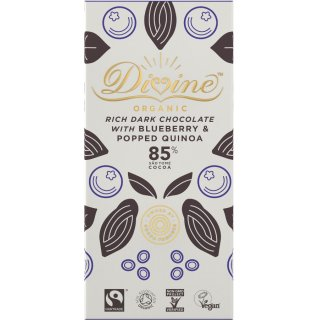 Organic 85% Dark Chocolate with Quinoa & Blueberry - 80g