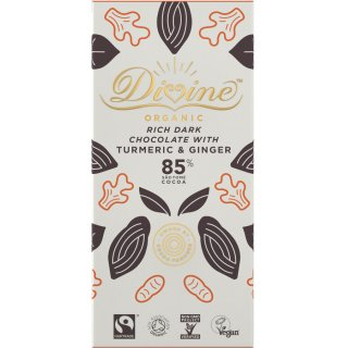 Organic 85% Dark Chocolate with Turmeric & Ginger - 80g