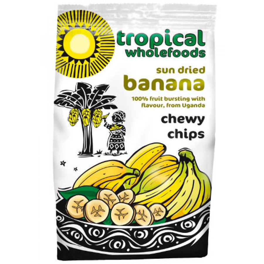 Pack of 2 Tropical Wholefoods - Chewy Banana Chips - 150g
