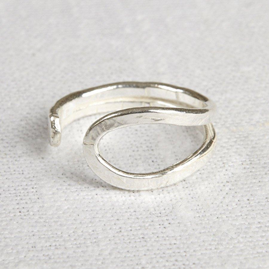 La Jewellery Recycled Silver Wave Ring - La Jewellery