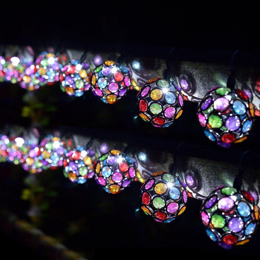 String Lights At Night : Solar Powered Multi-Glow Gem String Lights - 10 - Smart Garden