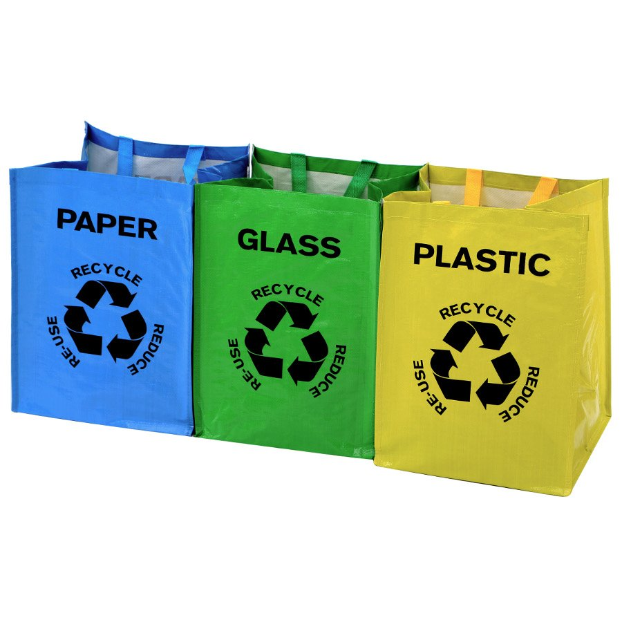 Recycle Bags - Set of 3 Plastic/Glass/Paper