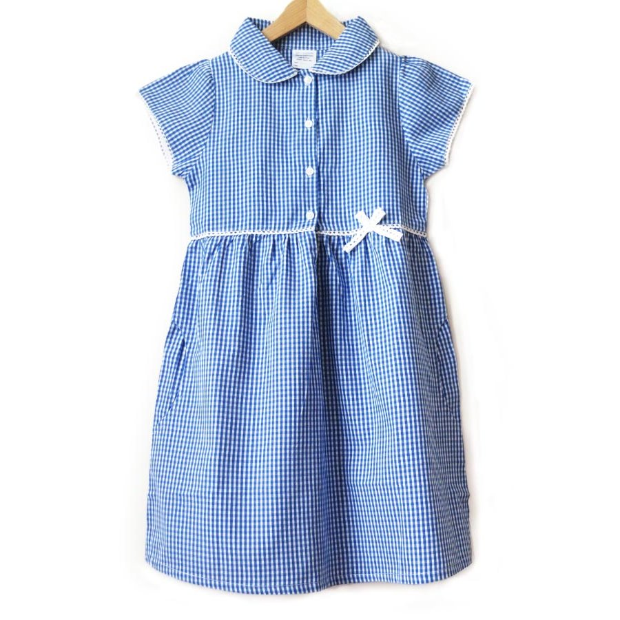 Girls Gingham Checked Summer School Dress - Blue - Junior ...