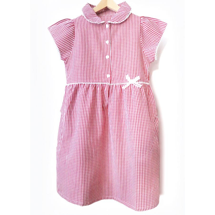 e6c08ae3ed7 Girls Gingham Checked Summer School Dress - Red - Junior - Ecooutfitters
