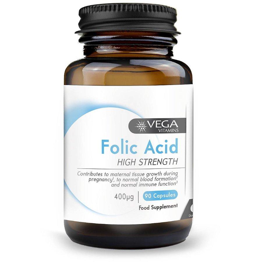 Vega Folic Acid (Vitamin B9) 400ug - 90 Capsules