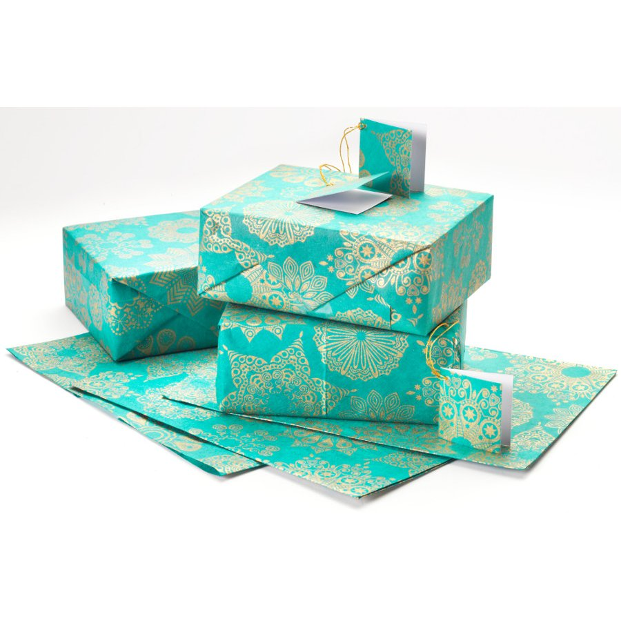 Teal Amp Gold Snowflake Gift Wrap Set Of 4 Natural