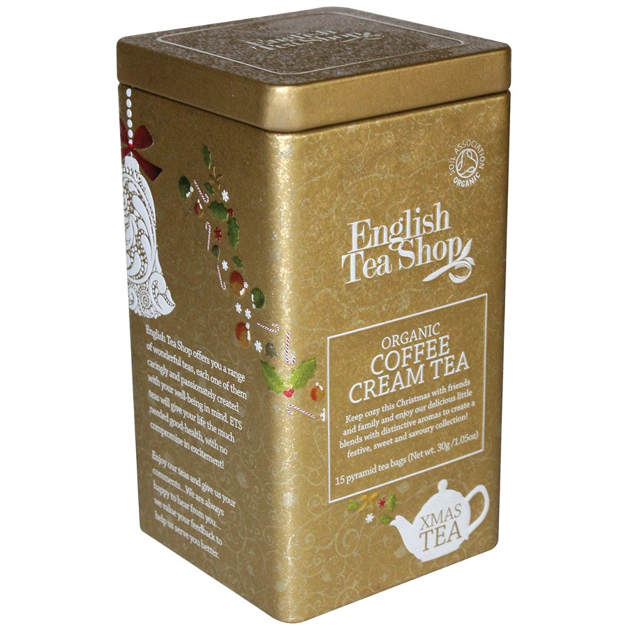 Coffee organic tea - English Tea Shop Organic Premium Square Tin Coffee Cream Tea 15 Pyramid Bags English Tea Shop