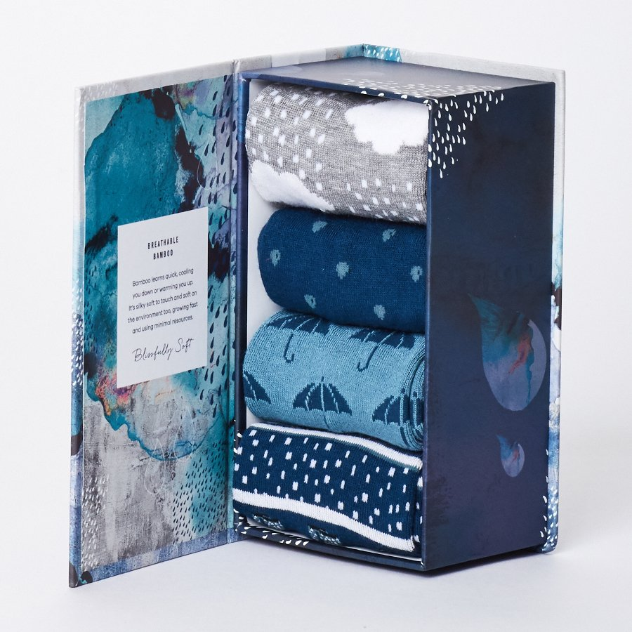 Thought Womens Rainy Days Bamboo Sock Gift Box - Thought (formerly Braintree Clothing)