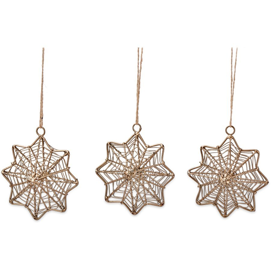 Decorations En Wire   Ngoni Brass Wire Hanging Star Decorations Set Of 3 Nkuku
