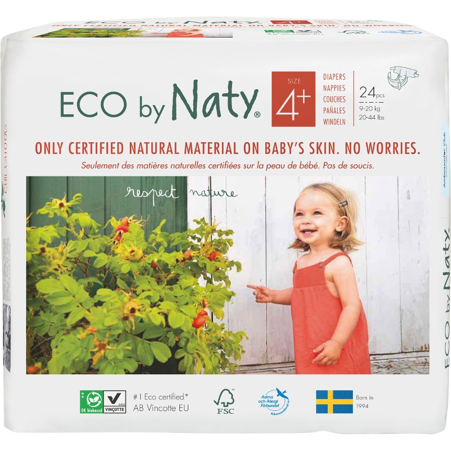 Eco By Naty Disposable Nappies Size 4 Maxi Plus Pack Of 24