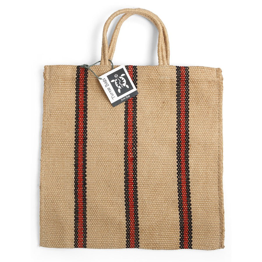 7f4e06cfbf47 Fair Trade Jute Red and Black Stripey Tote Bag