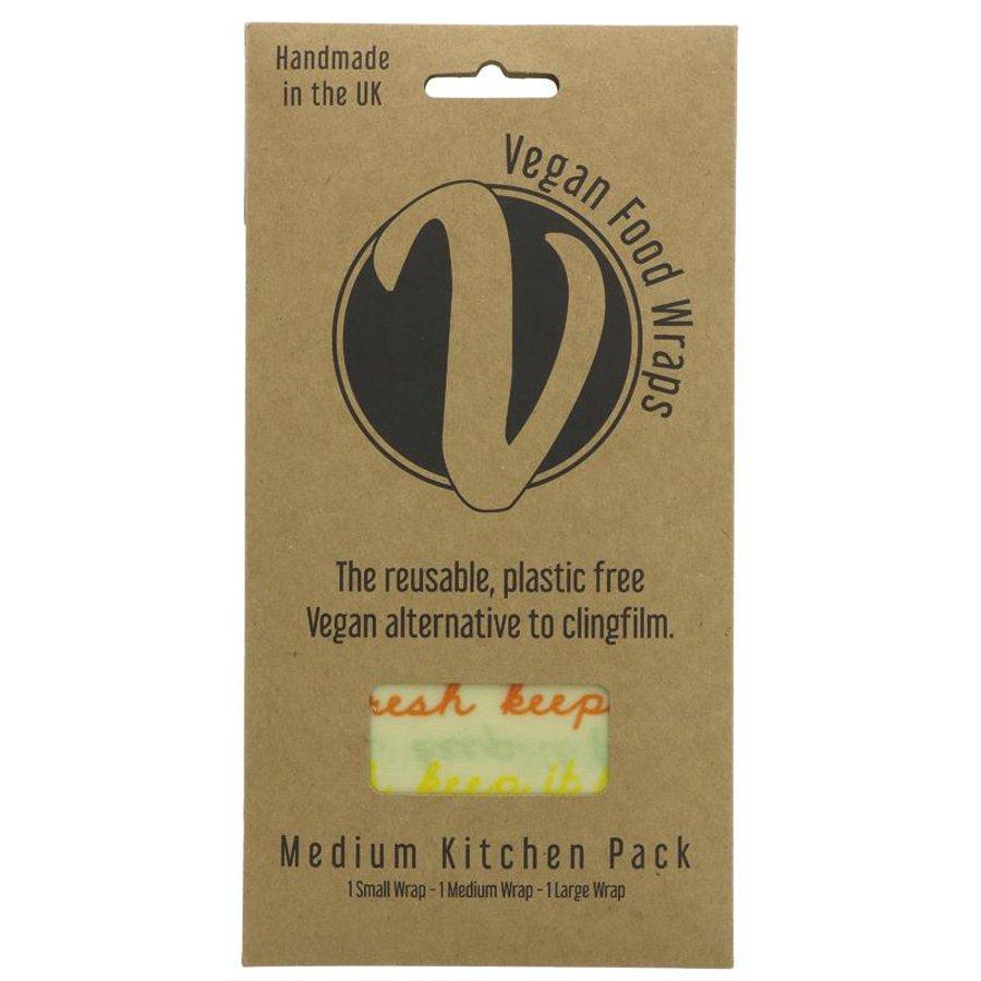 The Vegan Food Wrap Company Medium Kitchen Pack 3 Food Wraps