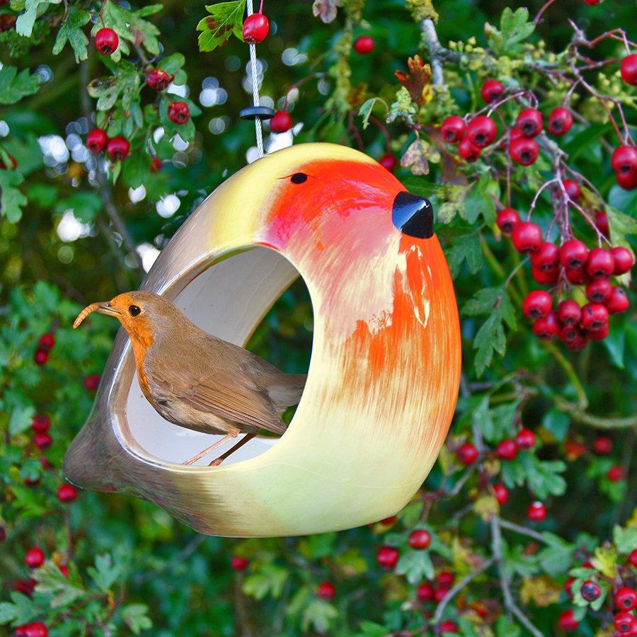 Ceramic Robin Bird Feeder Wildlife World
