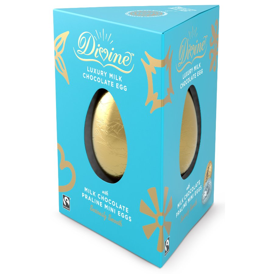 Gifts for her ethical superstore divine luxury milk chocolate easter egg with milk chocolate praline eggs 260g negle Choice Image