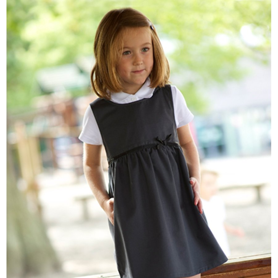 df5975dea Girls School Pinafore With Bow - Grey - Junior - Ecooutfitters