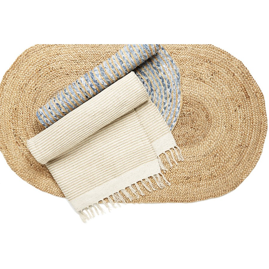 Oval Braided 100 Jute Rug 90 X 150cm Natural