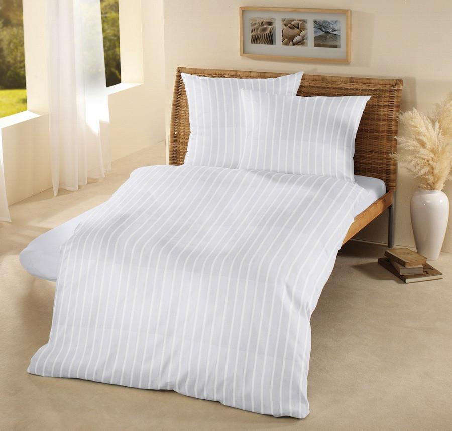 Fair Trade & Organic White Satin Stripe Super King Pillow Case-set of 2